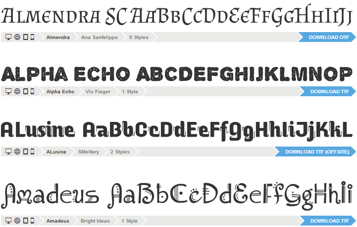 Font Squirrel ディスプレイフォント
