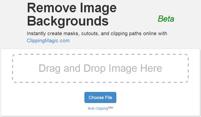 Clipping Magic アップロード画面