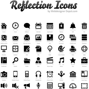 "200+ Exclusive Free Icons: ""Reflection"" | Webdesigner Depot"