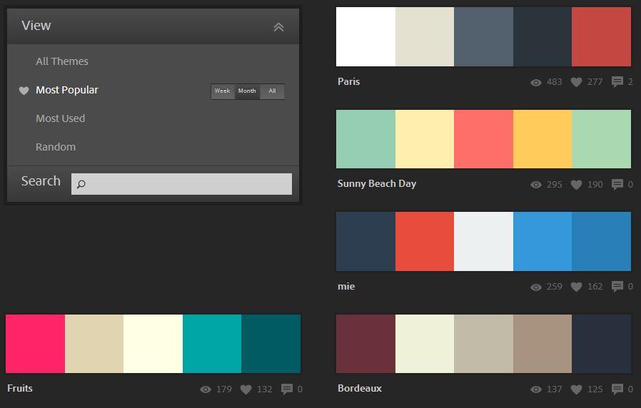 人気の色も見ることができます。ADOBE IDでログインするとカラーのダウンロードも可!